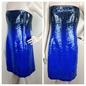 Kay Unger Strapless Blue Ombre Sequined Dress